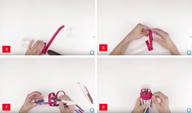 cara membuat tempat pensil dari botol bekas
