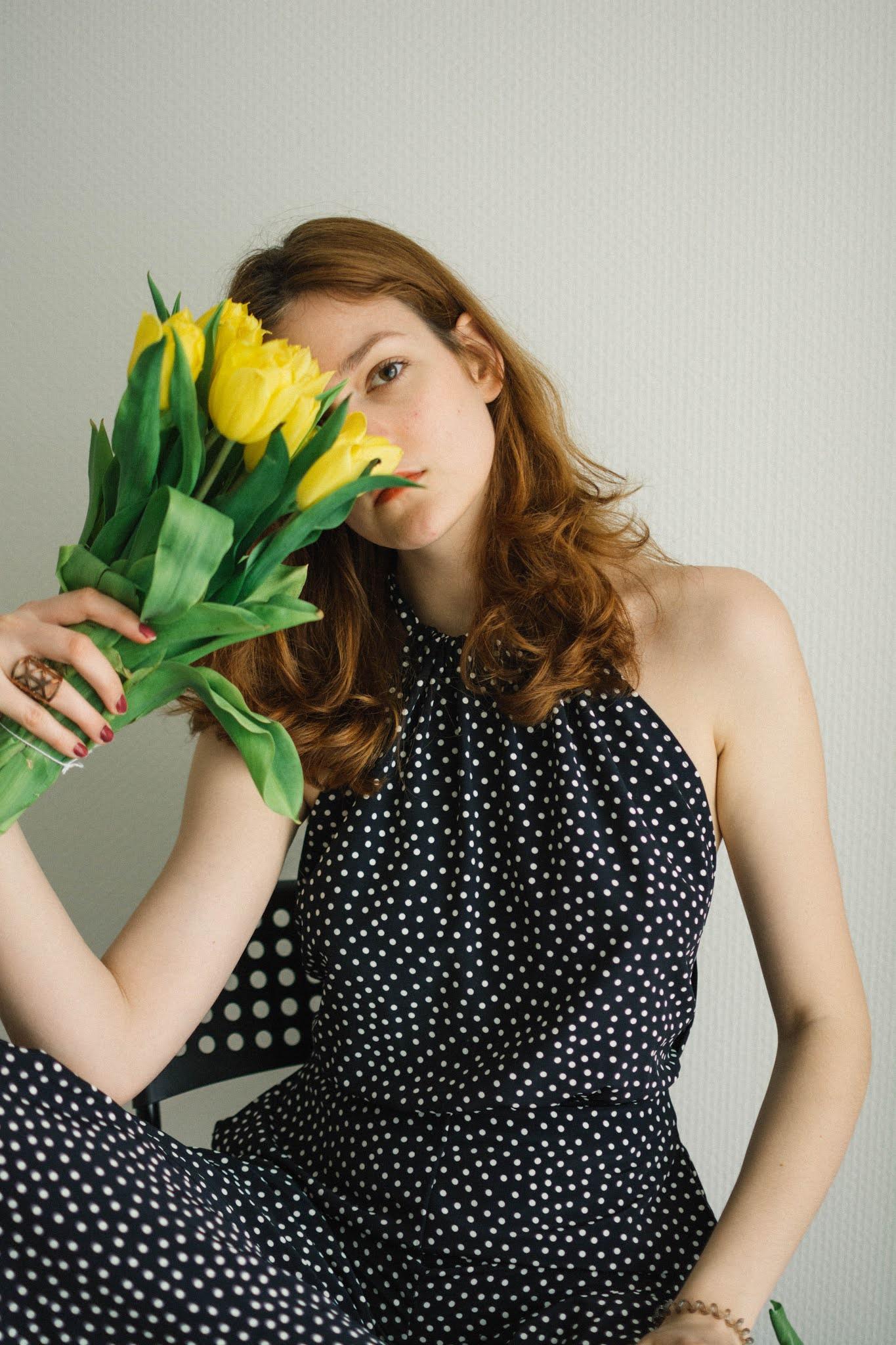 Tea selfportrait with tulips 2