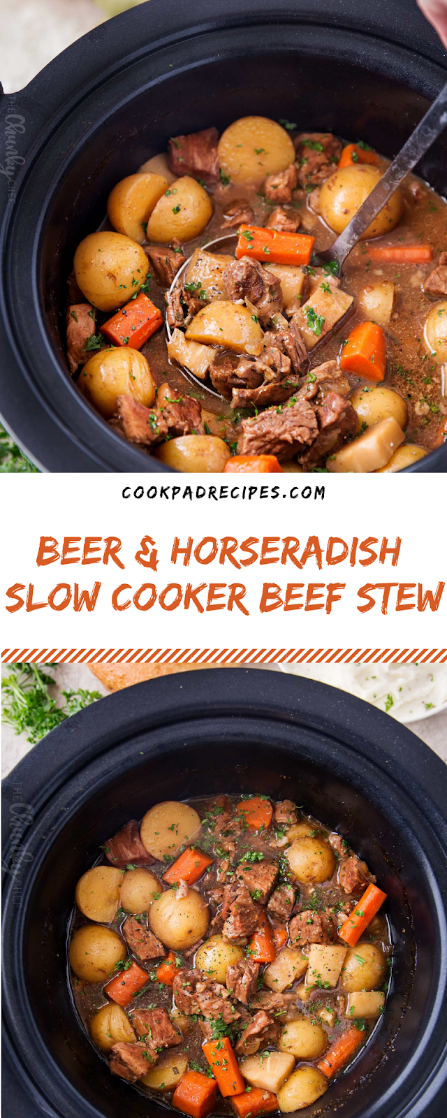 BEER & HORSERADISH SLOW COOKER BEEF STEW