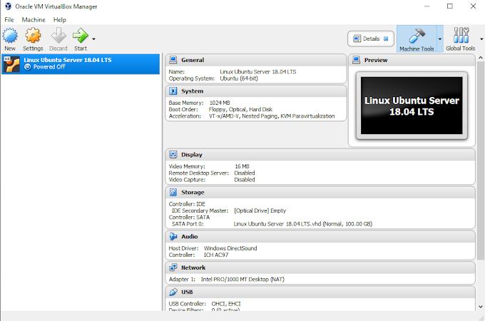Pembuatan VM Untuk Installasi Linux Ubuntu Server 18.04 LTS