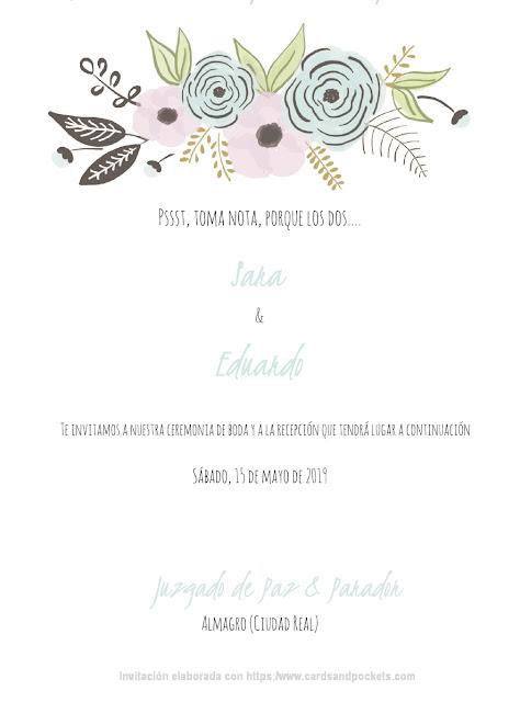 Modelo de invitación de boda hecha con plantilla gratuita