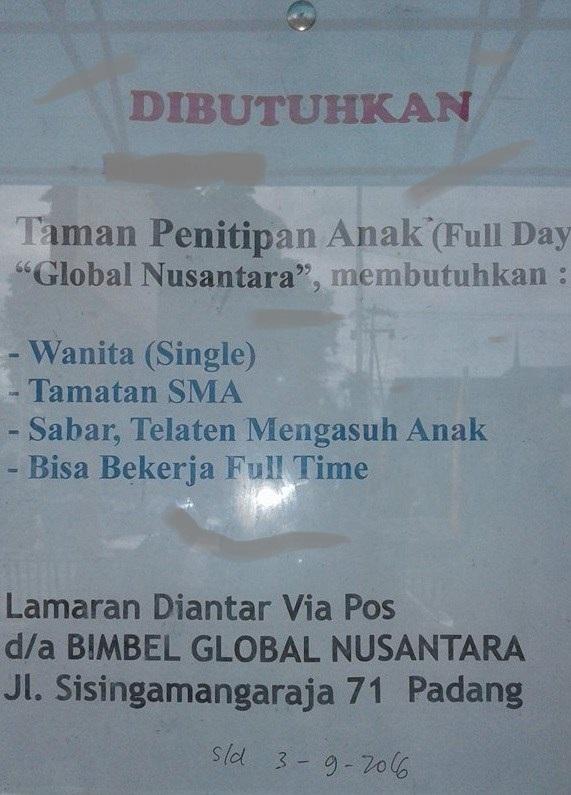 Lowongan Kerja di Padang – TPA Global Nusantara – Pengasuh Anak (Penutupan 3 Sept.2016)