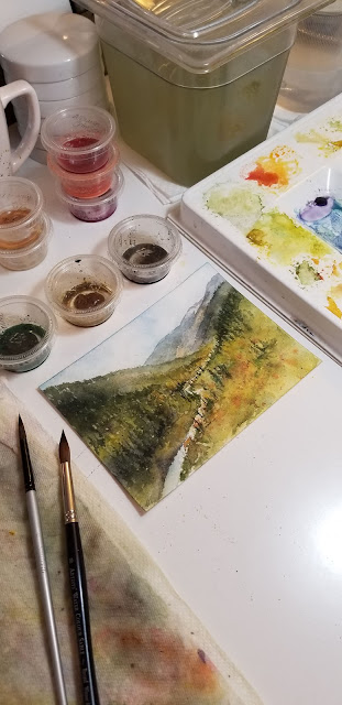"""A Watercolor painting, Wandering Above Cave Mountain, 5""""x7"""" 2018 by Christy Sheeler"""