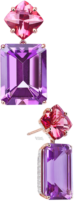 Brilliant Luxury♦Paolo Costagli Tourmaline And Amethyst Diamond Earrings
