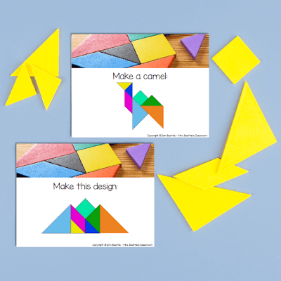 Photo of task cards with tangrams.