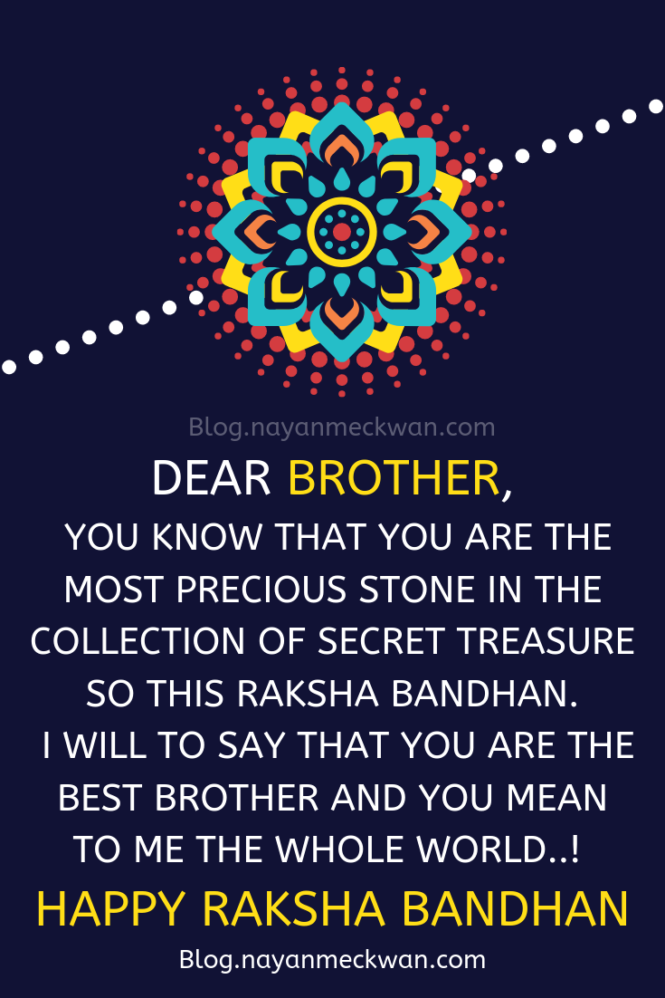 Dear Brother Best Happy Raksha Bandhan for Brother and Sister Quotes in English