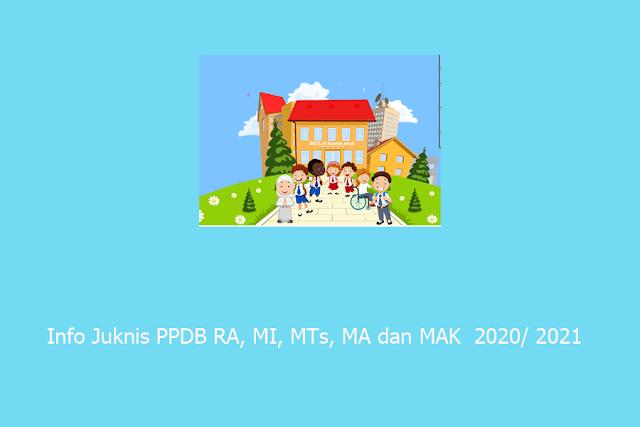 Info Juknis PPDB RA, MI, MTs, MA dan MAK  Terbaru 2020/ 2021
