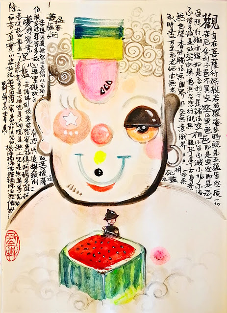 painting art, portrait of Buddha, Buddhism, Nirvana, Heart Sutra in Comic Style, hildren book illustration Style, Man in black hat climbing a watermelon to meet Buddha