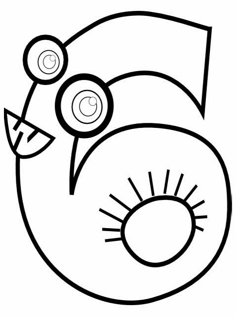 Kids Page: Animal Number 6 ( Six ) Coloring Page
