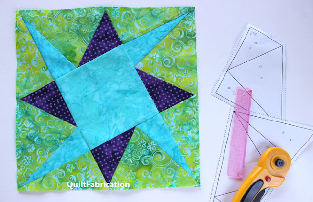 green purple and blue quilt block