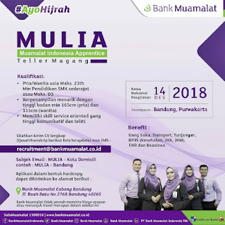 Karir Lowongan Kerja Bank Muamalat Bandung Purwakarta 2019