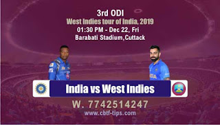 Who will win Today ODI Prediction, 3rd ODI Match Ind vs Wi - Cricfrog