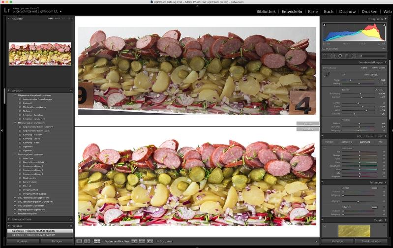 Food Fotografie Kartoffelsalat Bildbearbeitung in Lightroom