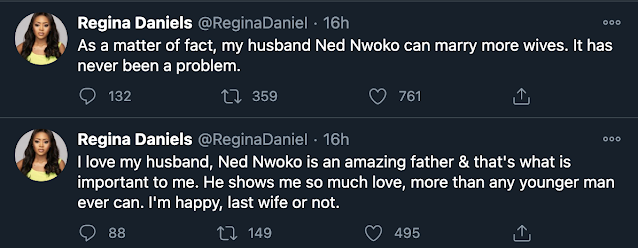 "You Can Marry More Wives""- Regina Daniels Says In Response To Ned Nwoko's Interview"