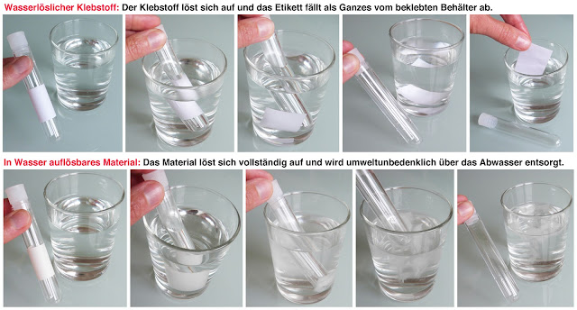 Etiketten wasserlöslich und auflösbar