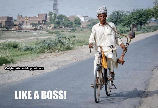 Funny Pakistani cycle rider