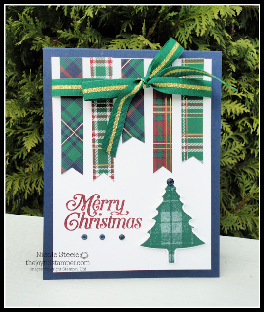 Stampin' Up!'s Perfectly Plaid Christmas card using Wrapped In Plaid DSP scraps