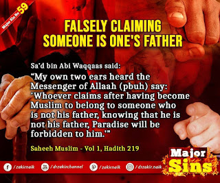 MAJOR SIN. 59. FALSELY CLAIMING SOMEONE IS ONE'S FATHER