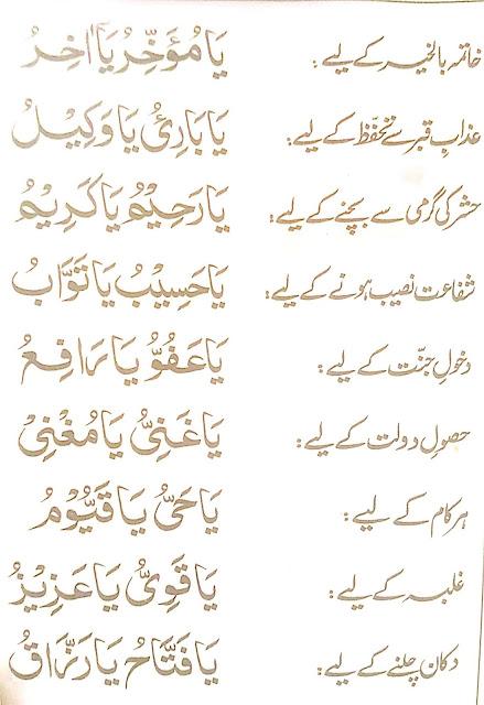 Asma ul Husna wazaif list in Urdu details