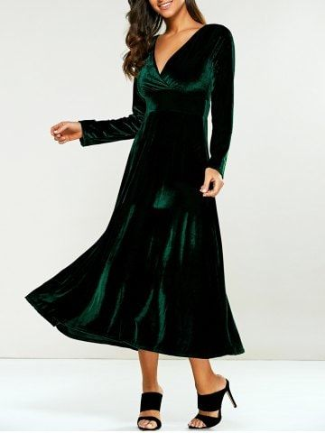 Surplice Velvet Tea Length Long Sleeve Dress