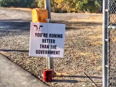 You're running better than the Government sign