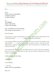 how to write a letter to bank manager for atm card not working