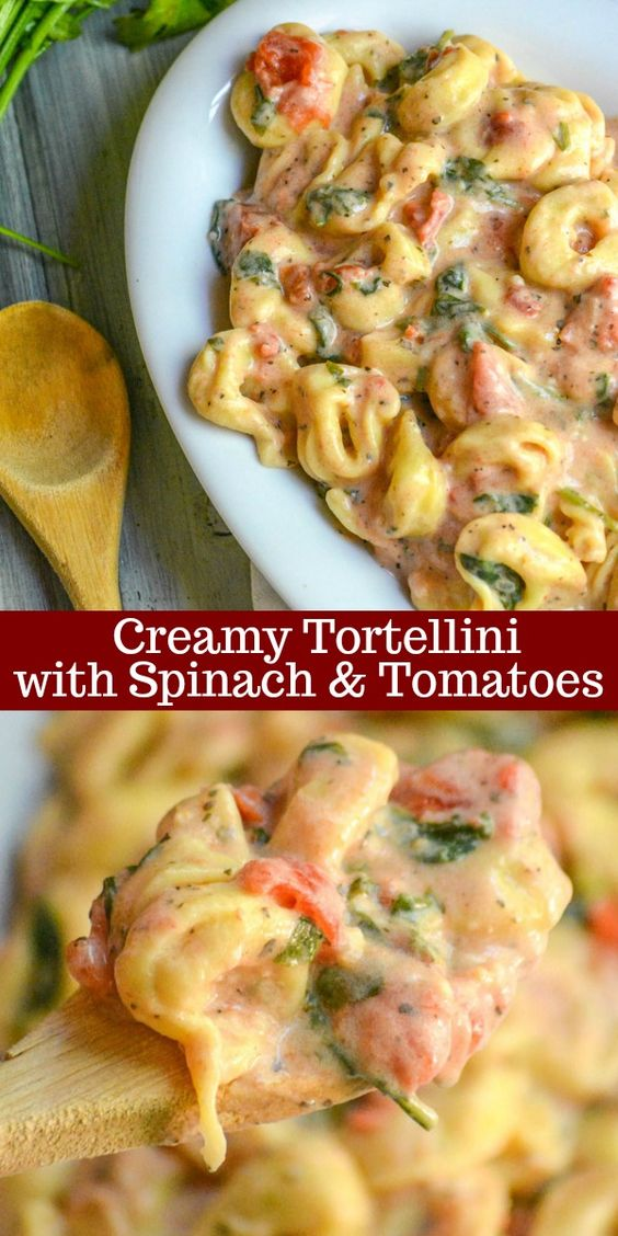 Cheese filled tortellini are smothered in a savory tomato based cream sauce with healthy spinach stirred right in for a perfect meatless family meal.