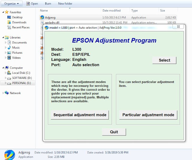 Resetter Epson L300