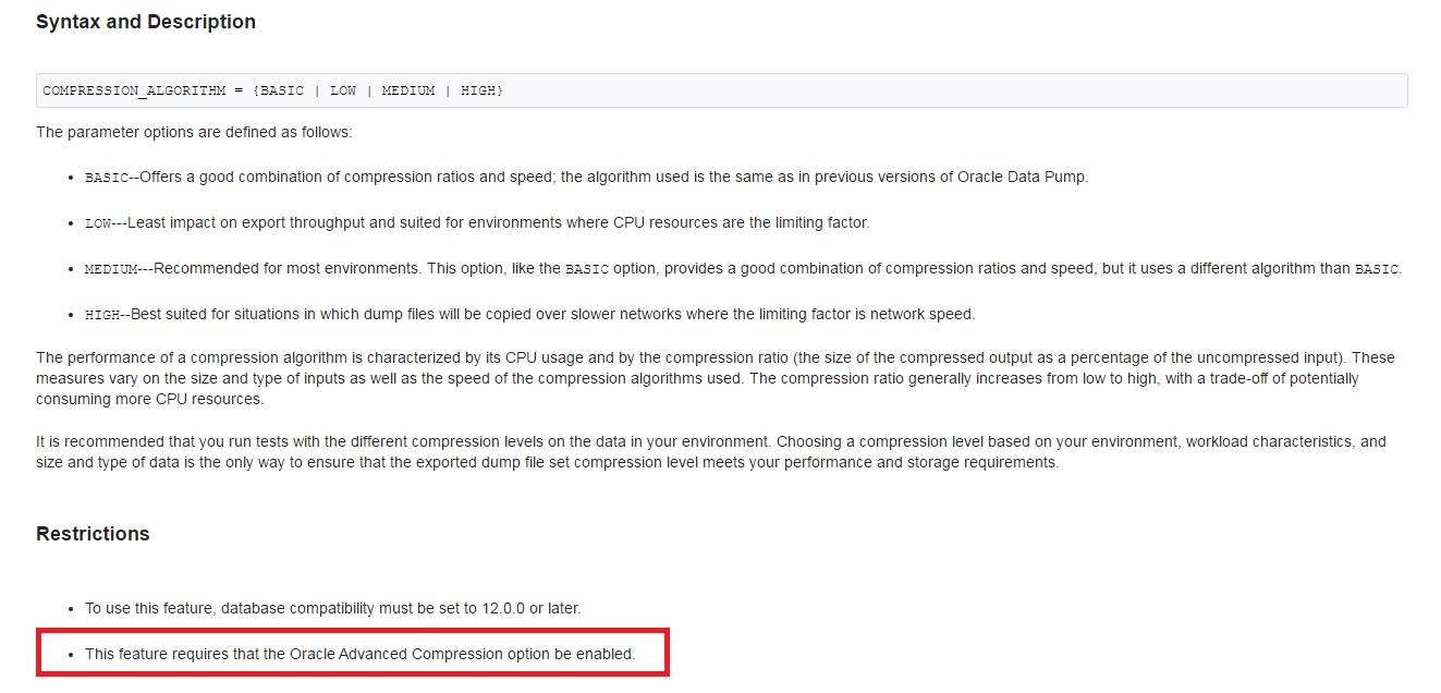 Compressão de dados no Oracle 12c com o Data Pump