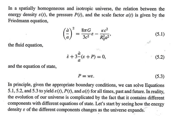 """This is where w shows up in the equation of state (Source: Barbara Ryden, """"Intro to Cosmology"""")"""