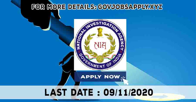National Investigation Agency Inspector and other Job Recruitment Notification Details 2020 | Last Date 09th November 2020