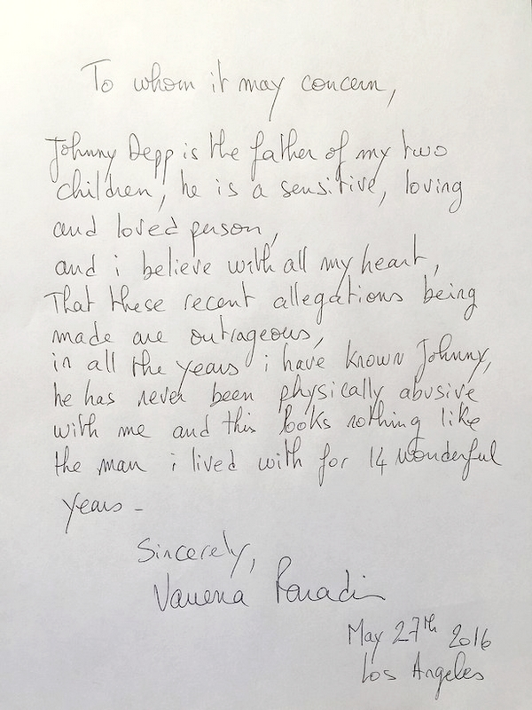 Vanessa Paradin Johnny Depp divorce letter