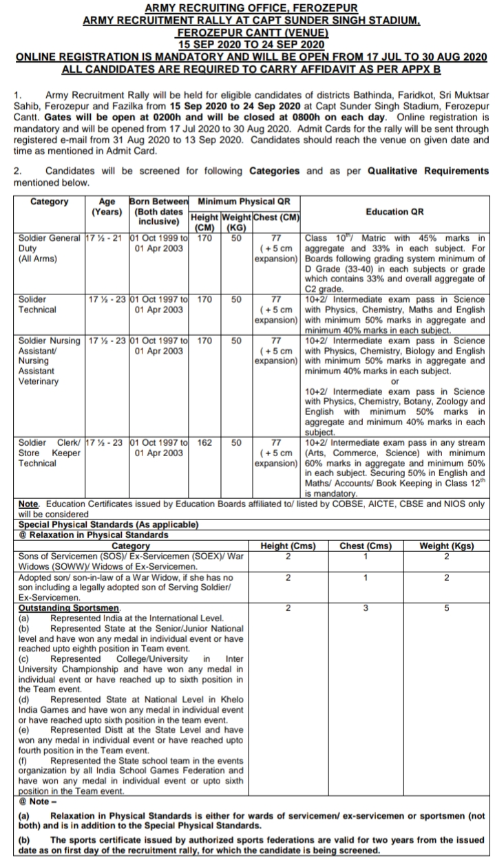 ARMY RECRUITING OFFICE, FEROZEPURARMY RECRUITMENT RALLY AT CAPT SUNDER SINGH STADIUM,FEROZEPUR CANTT (VENUE)15 SEP 2020 TO 24 SEP 2020ONLINE REGISTRATION IS MANDATORY AND WILL BE OPEN FROM 17 JUL TO 30 AUG 2020ALL CANDIDATES ARE REQUIRED TO CARRY AFFIDAVIT AS PER APPX B,aro ferozepur rally bharti 2020  sarkari army com 2020  indian army bharti next ferozpur cantt  patiala army bharti 2020  indian army bharti 2020  bathinda army bharti date  indian army bharti 2019 punjab  army result ferozepur 2019  indian army bharti ferozepur 2020 date  join indian army  join indian army ranchi 2020  army registration