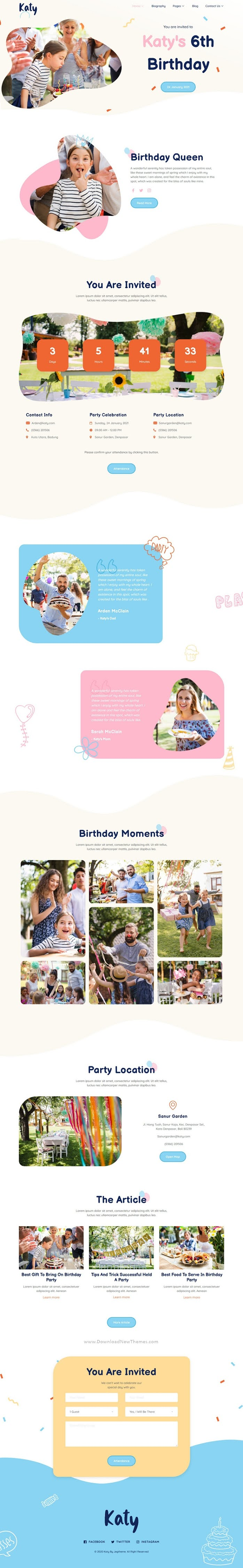 Kids Birthday Party Planner and Invitation Elementor Template Kit