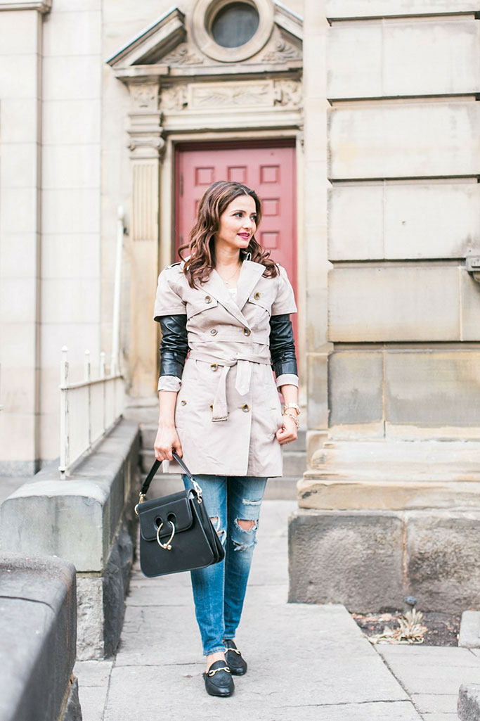 Holiday Dressing: Leather Sleeve Trenchcoat, Pierced Bag and Fur-lined Loafers