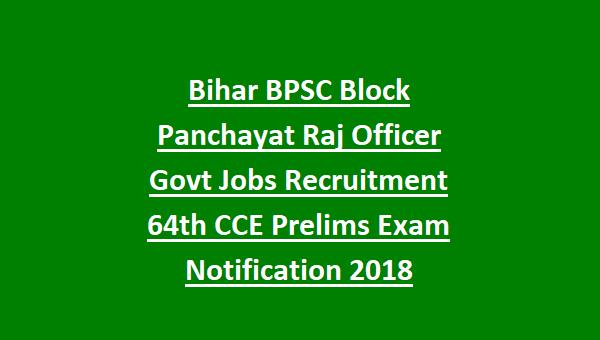 Bihar BPSC Block Panchayat Raj Officer Govt Jobs Recruitment