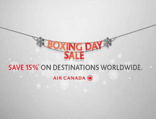 Air Canada Boxing Day Sale 15% Off Flights