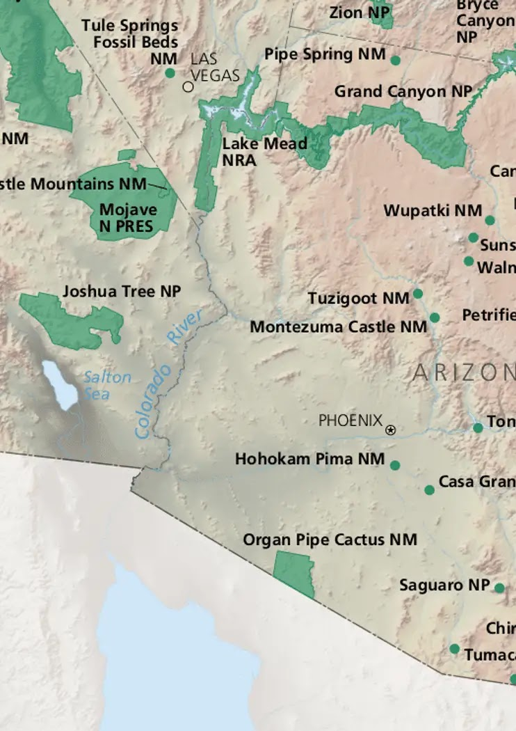 National Parks in Arizona Map