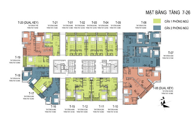 Mặt bằng tổng thể tầng 7 đến tầng 26 dự án chung cư D' El Dorado Phú Thượng Tây Hồ