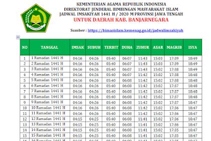 Jadwal Imsakiyah Ramadhan 2020 (1441 H) Kabupaten Banjarnegara