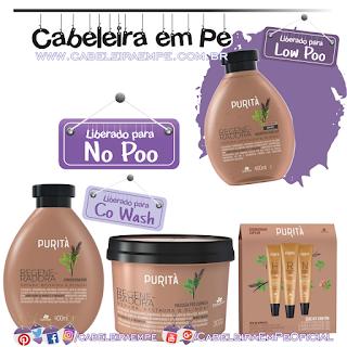 Shampoo (Low Poo), Condicionador, Máscara e Ampolas (Liberados para No Poo) Regeneradora - Purità