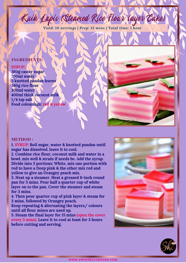 KUIH LAPIS (STEAMED RICE FLOUR LAYER CAKE) RECIPE