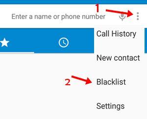 first three dot par click kare and blacklist par click kare