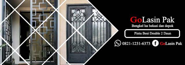 harga pintu besi nako minimalis buka dua daun