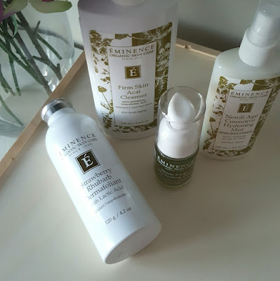 Eminence Organic Skincare Review, Stone Crop Hydrating Gel ($59) 1.2 fluid ounces, Neroli Age Corrective Hydrating Mist ($38) 4.2 fluid ounces., Strawberry Rhubarb Dermafoliant ($48) 4.2 ounces,  Firm Skin Acai Cleanser ($38) 8.4 fluid ounces, canadian beauty blogger, beauty blogger, beauty blog, skincare review, natural skincare, natural skin,