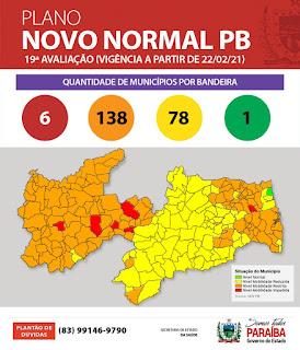 Covid: PB volta a apresentar municípios com bandeira vermelha