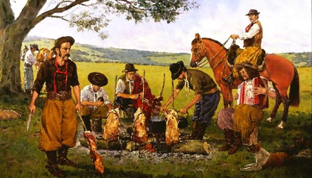 A pintura mostra uma cena do gaúcho com a família, preparando seu churrasco no campo.