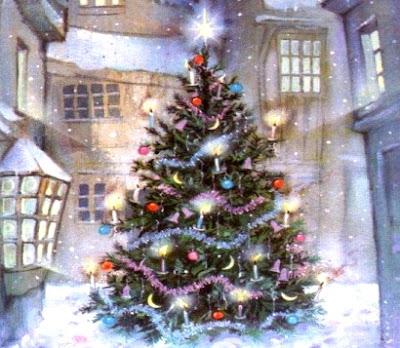 Dibujo de un Arbol de navidad en Invierno a colores