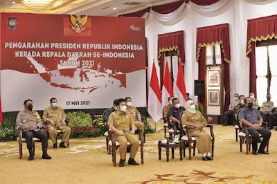 Forkopimda Jatim Ikuti Zoom Meeting Bersama Presiden RI di Gedung Negara Grahadi Surabaya