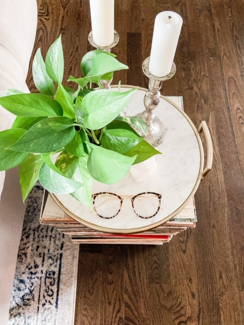 record side table with tray